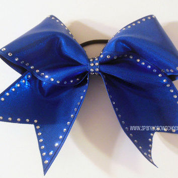 Rhinestone Trim Large Cheer Bow Hair Bow by SparkleBowsCheer