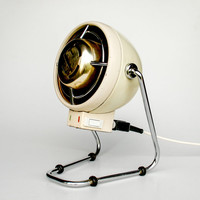 Electric Fan / Electric Heater / Portable Heater Fan / Saturnus Made in Yugoslavia / Creme-White & Gold