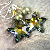 Golden Green Starfish Earrings RARE Topaz Olive Swarovski Crystal Starfish Earrings Summer Beach Fashion