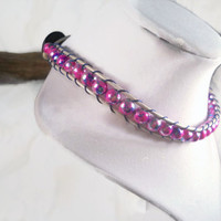 Bead Choker Pink Beaded Choker Leather Choker