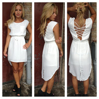 White Hi Low Ann Chiffon Dress