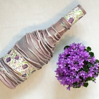 Decoupage Bottle in Pastel Purple Perfect Detail by BeauMiracle