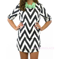 The Glam Life Black Chevron Dress