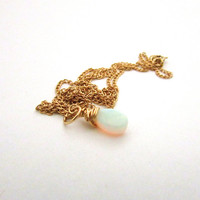 Opal necklace, October birthstone necklace, gold filled, wire wrapped opal pendant