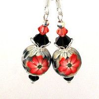 Silver grey orange earrings floral polymer clay by Mindielee