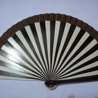 Dark Brown and White Striped Flamenco Folding Hand Fan