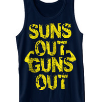 Suns Out Guns Out Tank Top Funny Workout Muscle Gym MMA Weightlifting Train Tank Tee Shirt Tshirt XS-2XL
