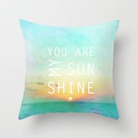 You Are My Sunshine Throw Pillow by Ally Coxon