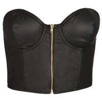 PU Zip Up Bralet
