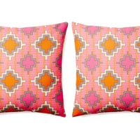 One Kings Lane - Double Up - S/2 Aztec 20x20 Outdoor Pillows, Orange