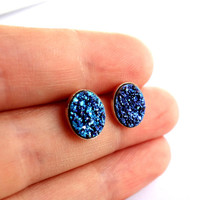 Oval Bright Blue Drusy Druzy Studs in by RachelPfefferDesigns