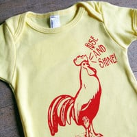 Funny Baby Onesuit Bodysuit Cotton Rise and Shine Screen Printed Red Rooster