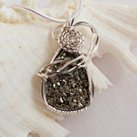 Wire Wrapped Handmade Jewelry, Pyrite Pendant