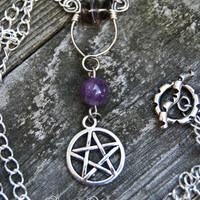 Silver Pentacle Protection Necklace