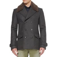 Gucci Shearling-Collar Wool Peacoat | MR PORTER