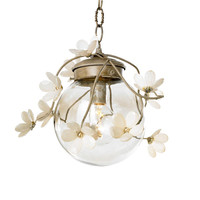 Geranium Globe Pendant with Crystal Flowers in Custom Colors