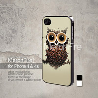 Coffee Owl iPhone 5, iPhone 4/4S, Samsung Galaxy S2, Samsung Galaxy S3 , Samsung Galaxy S4, Blackberry Z10 Hard Case Black / White