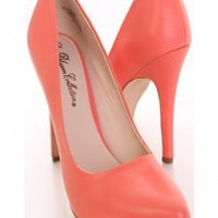 Coral Faux Leather Pump Heels