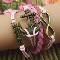 European Style LOVE Anchor Number Pink  Bracelet from shopgirl8