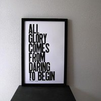 Dare to Begin Letterpress Print by happydeliveries on Etsy