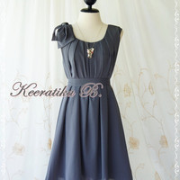 A Party Dress One Shoulder Layered Bow Dress Charcoal Gray Dress Prom Dress Party Bridesmaid Dress Wedding Dress Anniversary Dress