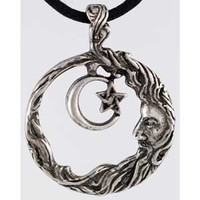 Wisdom Amulet Pendant Necklace Wicca Crescent Moon Pentagram