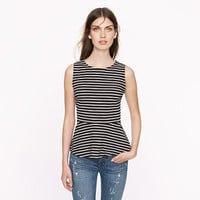 Ponte peplum top in stripe - sleeveless - Women's shirts & tops - J.Crew