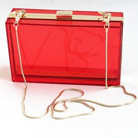 New Perspex Clutch Handbag Transparent Acrylic Clear Purse Bag / Multi-color