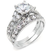 Sterling Silver Cubic Zirconia CZ Wedding Engagement Ring Set:Amazon:Jewelry