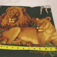 Fabric, Jungle animals, zoo animals, lions, zebras