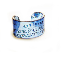 Cuff, Ouija, Resin Graphic Cuff. Resin Bangle. Resin bracelet. Blue.