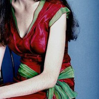 Red Satin and Green Chiffon Silk Fitted Dress S by prizysebastian