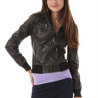 Zip Washed PU Bomber