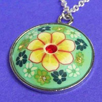 Colorful Polymer Clay Flower Necklace with by SaritasJewelryBox