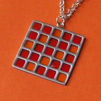 Red Yellow and Brown Window Pane Charm by SaritasJewelryBox