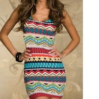 Fresh geometric colorful dress