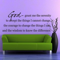 Vinyl Wall Decal Sticker Art  Serenity Prayer by wordybirdstudios