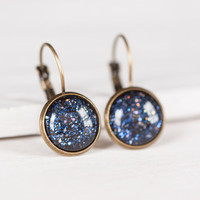 Deep Blue Sparkle Dangle Earrings - Leverbacks