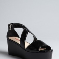 Prada Prada Sport black patent leather platform sandals | BLUEFLY up to 70 off designer brands