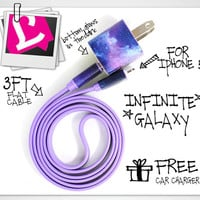 Infinite Galaxy iPhone 5 Galaxy Design with Flat cable, Wall Plug and FREE Car Charger