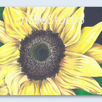 Girl's Bedroom Art, Sunflower Art // Kitchen Decor, Living Room Decor // Flower Art Print // Girl's Bedroom Decor // 8x10 Art Print