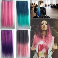 2013 Two Tone One Piece Straight Synthetic Thick Hair Extension Clip-on Hairpieces