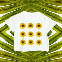 90s Sunflower Crop Top // Sunflower Top // 90s // 90s Grunge // Bohemian Top