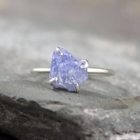 Blue Sapphire Ring   Raw Uncut Blue Sapphire  by ASecondTime