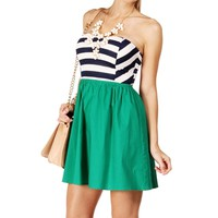 Navy/Green Back Bow Sundress