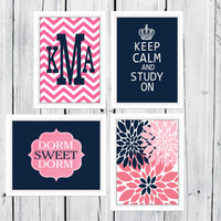Dorm Decor Custom Colors 4 Print Set -  11x14