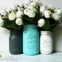 Dolphin / Turquoise - Home Decor - Wedding Decor - Vase - Centerpiece - Hostess Gift - Painted Mason Jars