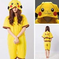 Cosplay Romper Japan Anime Pikachu Pokemon Kigurumi Pajamas Hoodie Summer Wear Size S