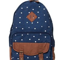 Sweet Cute White Tiny Dot Canvas Backpack-Dark blue from styleonline