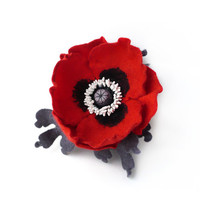 Felted grey bracelet cuff flower red poppy with grey leaves